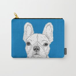 French Bulldog Portrait ( blue background ) Carry-All Pouch