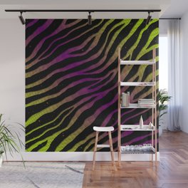 Ripped SpaceTime Stripes - Lime/Purple Wall Mural