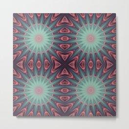 Mauve & teal starburst Mandala Metal Print