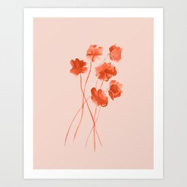 Red orange watercolor poppies on blushpink Art Print