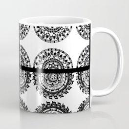 Black and White Patch-Work Mandala Textile Coffee Mug