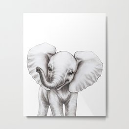 Baby Elephant Watercolor Black & White, Baby Animals by lanakat Metal Print