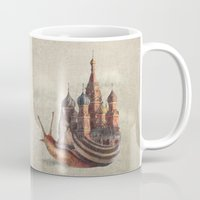 poppy Mugs featuring The Snail's Daydream by Eric Fan