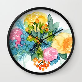 Colorful Watercolor Bouquet Wall Clock