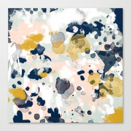 Esther - abstract minimal gold navy painting home decor minimalist hipster art Canvas Print