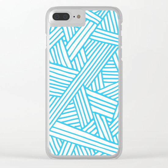 Abstract Teal & white Lines and Triangles Pattern-Mix and Match with Simplicity of Life Clear iPhone Case