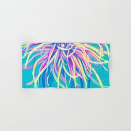 Bright Blue Pop Art Chrysanthemum Hand & Bath Towel