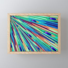 Peacock feather abstraction Framed Mini Art Print