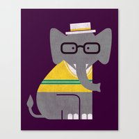 preppy Canvas Prints featuring Rodney the preppy elephant by Picomodi