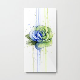 Flower Rose Watercolor Painting 12th Man Art Metal Print