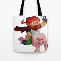 gore Tote Bags featuring Hoojo of Minecraftia - Gore Edition by Angry Adventure