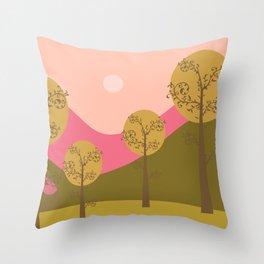 Kawai landscape autumn Throw Pillow