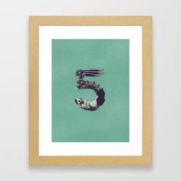 Typography - Number 5  Framed Art Print