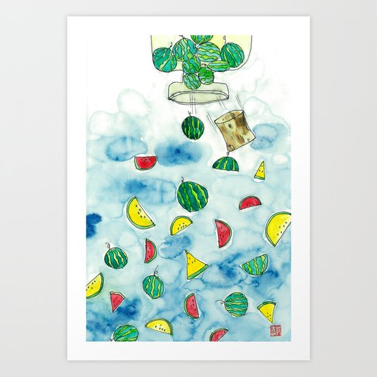 Why Watermelon Drop from Bottle? Art Print