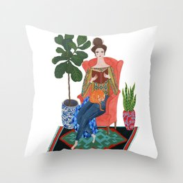 Cat lady reading Throw Pillow