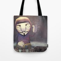 anonymous Tote Bags featuring anonymous by Emilio Rizzo