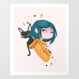 Twitchy, Witchy Girl Art Print
