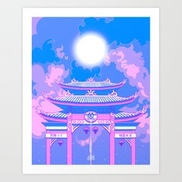 Kyoto Nights Moonlight Blessing (Calming Anime Piece) Art Print