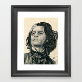 Sweeney Todd ~ Johnny Depp Traditional Portrait Print Framed Art Print