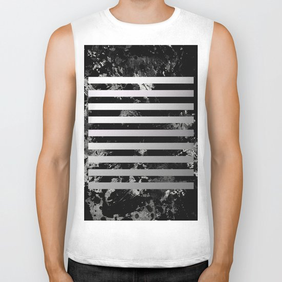 Industrial Action - Metallic, black and white, abstract, geometric, textured painting Biker Tank
