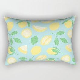 Lemon Pattern Blue Rectangular Pillow