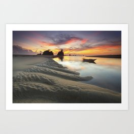 Canoe on the Water at Sunset Art Print