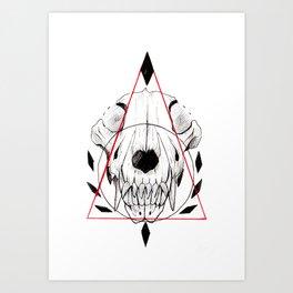 WOLF SKULL INKTOBER Art Print