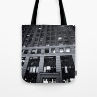 theatre Tote Bags featuring Paramount Theatre by Benjamin Hunter