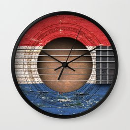 Old Vintage Acoustic Guitar with Dutch Flag Wall Clock