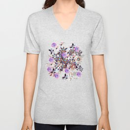 Beautiful watercolor flowers. Blue morning filed Unisex V-Neck