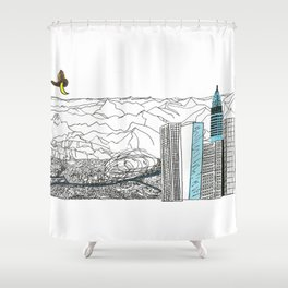 Illustration_ On the road_ Jack Kerouak Shower Curtain