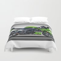 motorbike Duvet Covers featuring Kawasaki Motorbike by cjsphotos