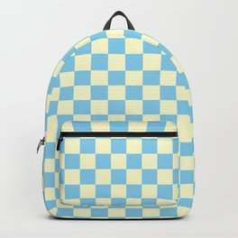 Cream Yellow and Baby Blue Checkerboard Backpack