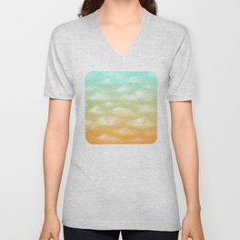 Soft Blue and Orange Sunset Sky Unisex V-Neck