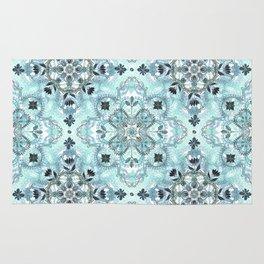 Soft Mint & Teal Detailed Lace Doodle Pattern Rug