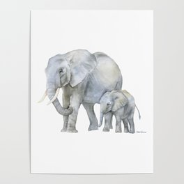 Mother and Baby Elephants Poster