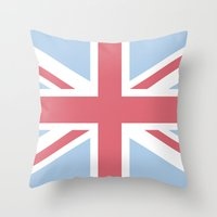 union jack Throw Pillows featuring Union Jack by Alesia D