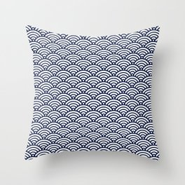 Indigo Navy Blue Wave Throw Pillow