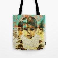 boy Tote Bags featuring Boy by Lia Bernini