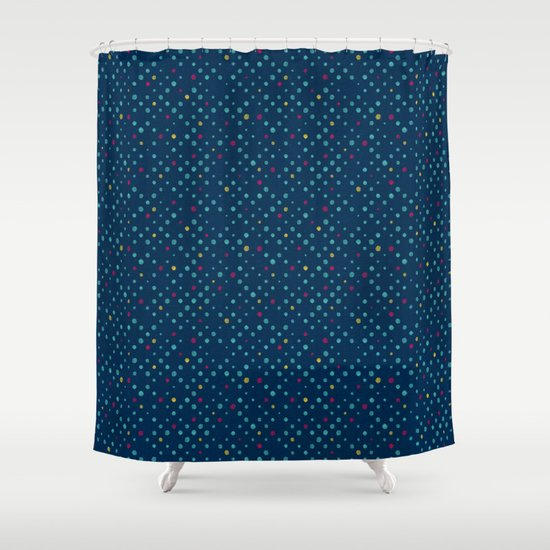 Lots Of Dots Prussian Blue Turquoise Green Deep Red Yellow Shower Curtain By Daniel