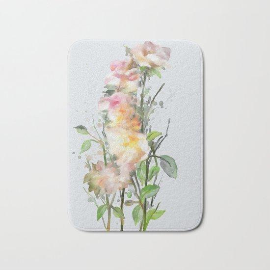 Wild roses, watencolors Bath Mat