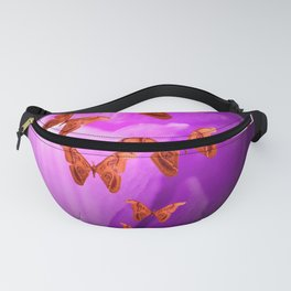Violet Flower Bud With Apollo Butterflies Illustration On A Black Background #decor #society6 Fanny Pack