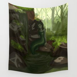 Water nymph by the waterfall Wall Tapestry