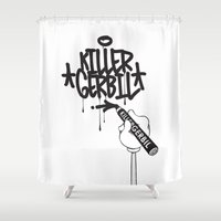 writer Shower Curtains featuring Writer by The Killer Gerbil