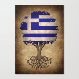 Vintage Tree of Life with Flag of Greece Canvas Print