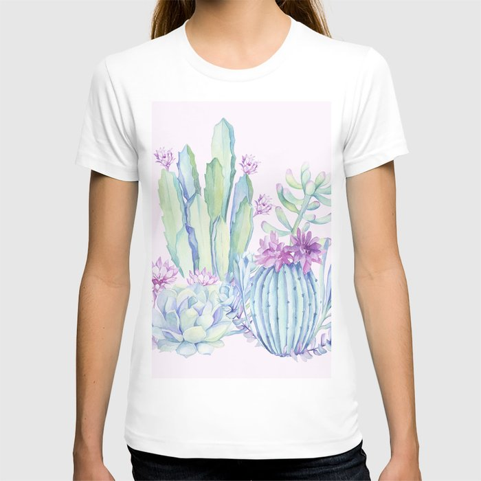 Mixed Cacti Pink #society6 #buyart T-shirt