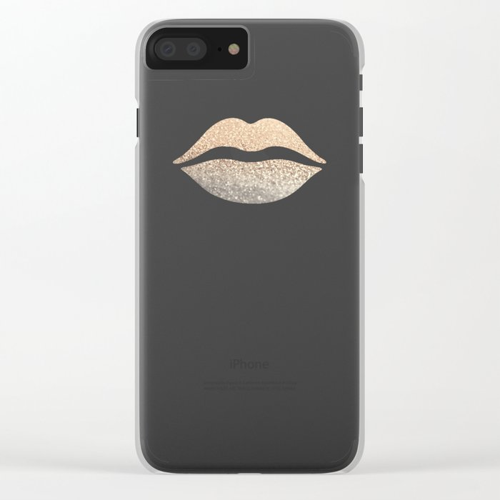 GOLD LIPS Clear iPhone Case