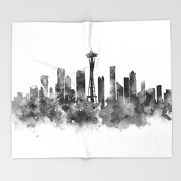 Seattle Black and White Throw Blanket