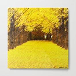 Gingko Biloba Autumn Leaves Landscape Painting by Jéanpaul Ferro Metal Print