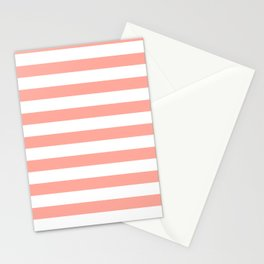 Simply Striped in Salmon Pink and White Stationery Cards